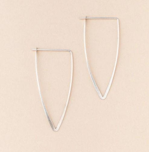 Silver Triangle Minimalistic Hoops