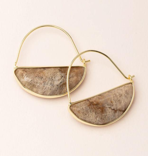Stone Prism Hoop Earring Fossil/Gold
