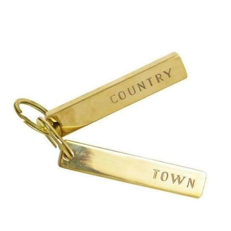 Brass Town & Country Keychain Pair - Pink Pig
