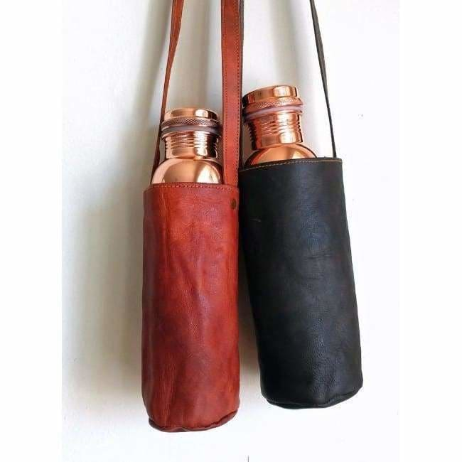 Tamra Leather & Embroidered Water Bottle Carrier