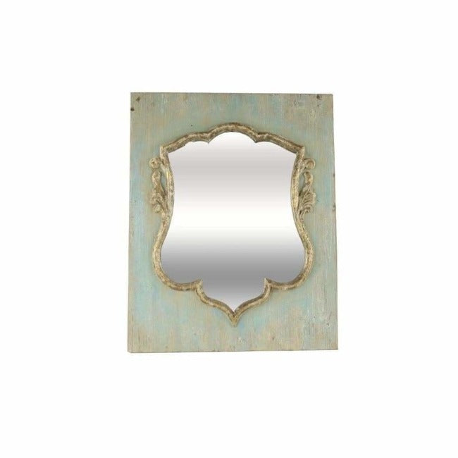 Distressed Wood Shield Mirror - Pink Pig