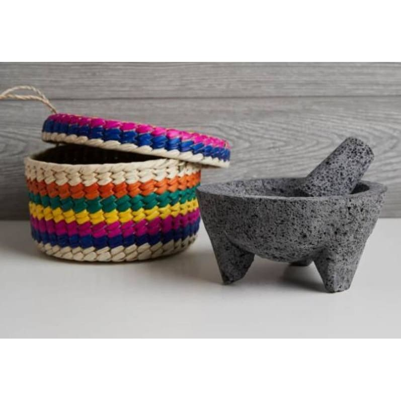 Molcajete With Tortilla Basket - Pink Pig