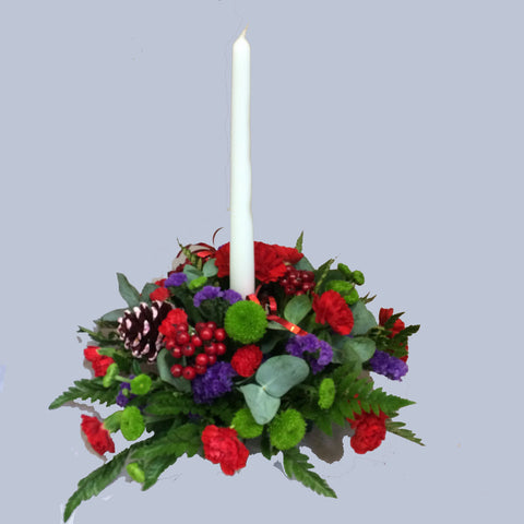 Christmas Centrepiece Candle Arrangement - Alan Brown Flowers Leeds