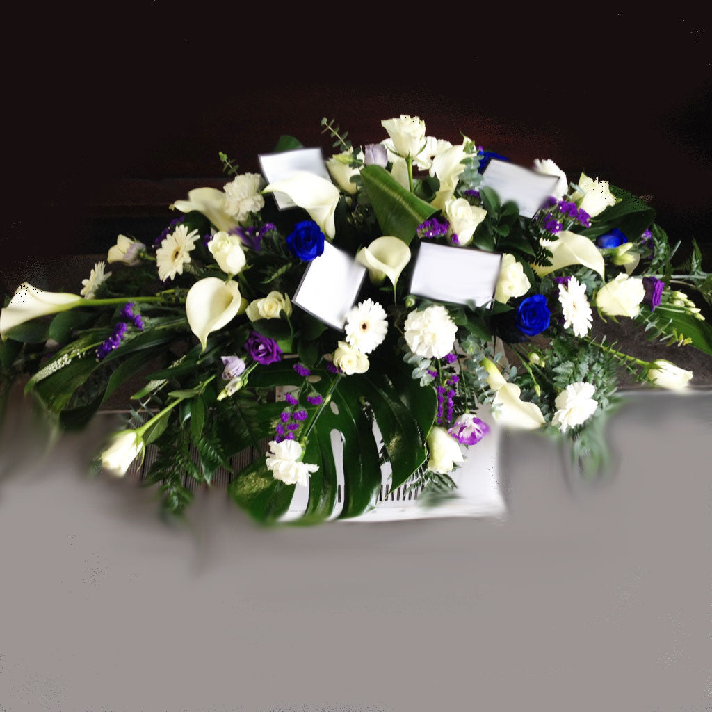 Cream Blue Purple Funeral Spray