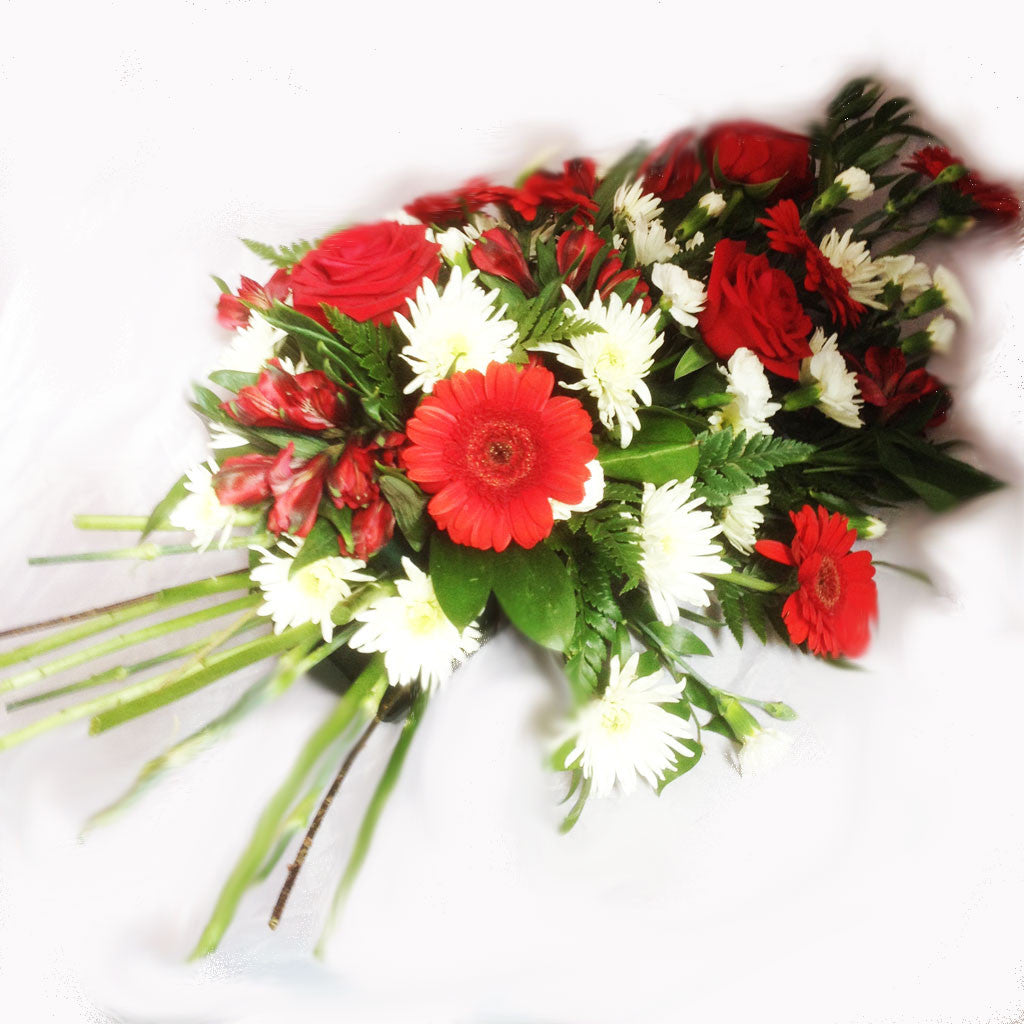 Red funeral sheaf alan brown flowers red funeral sheaf dhlflorist Choice Image