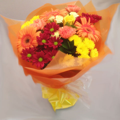 Seasonal Yellow and Orange Mixed Hand Tied Bouquet - Alan Brown Flowers Leeds