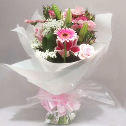 Seasonal Pink and Lily Mixed Hand Tied Bouquet - Alan Brown Flowers Leeds