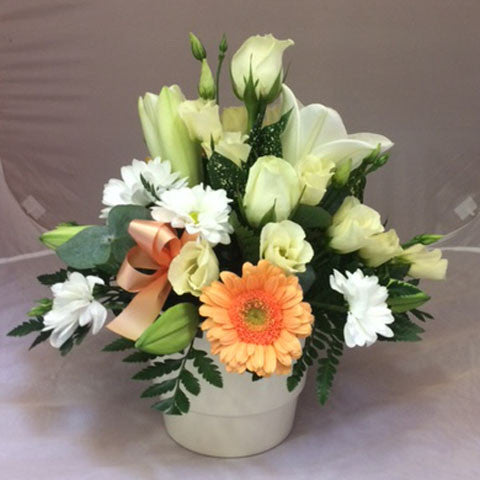 White and Cream Arrangment - Alan Brown Flowers Leeds