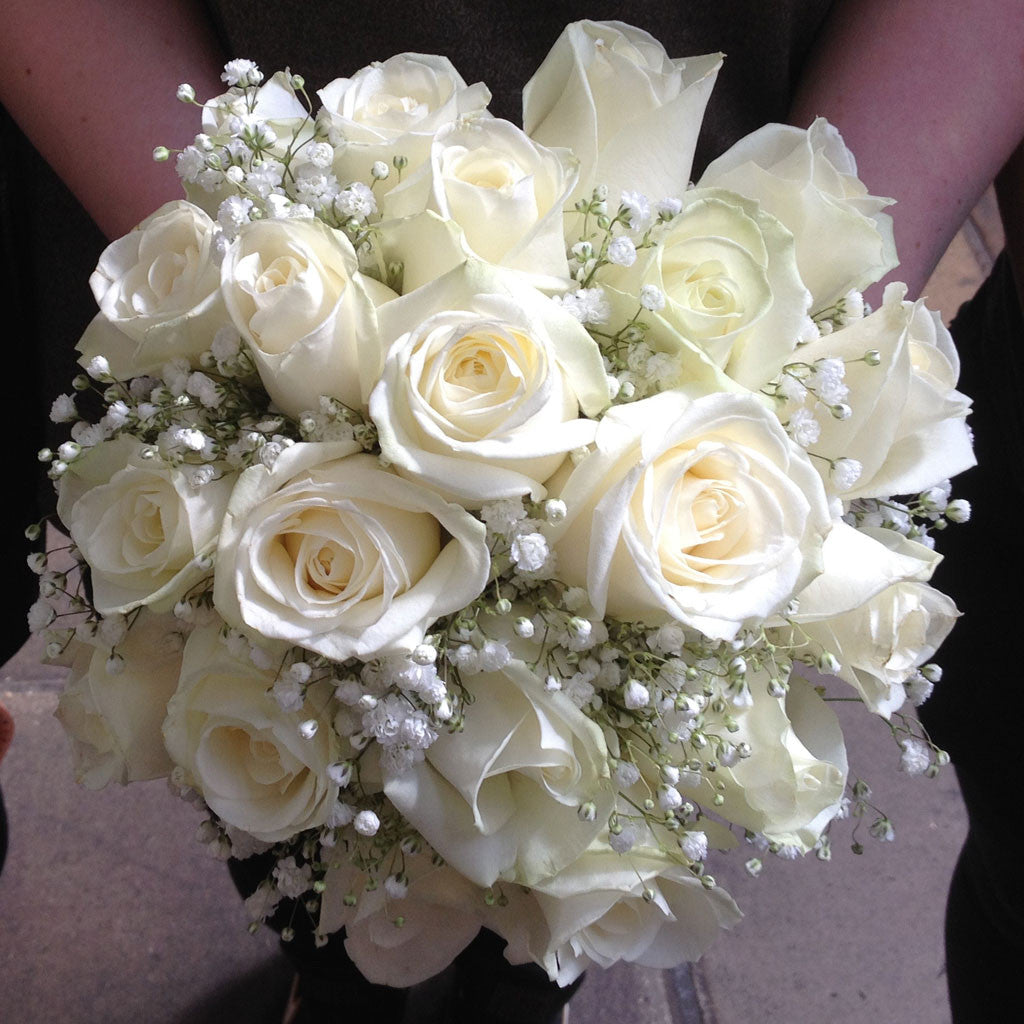 Brides White Rose Bouquet