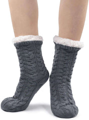 Women Slipper Socks Warm and Soft Sherpa Lined Winter Socks Fluffy Thermal with Non Slip Grips Sole