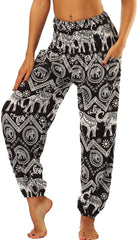 Women Trouser Floral Yoga Pants Loose Fit Bohemian Lounge Pants with Pocket