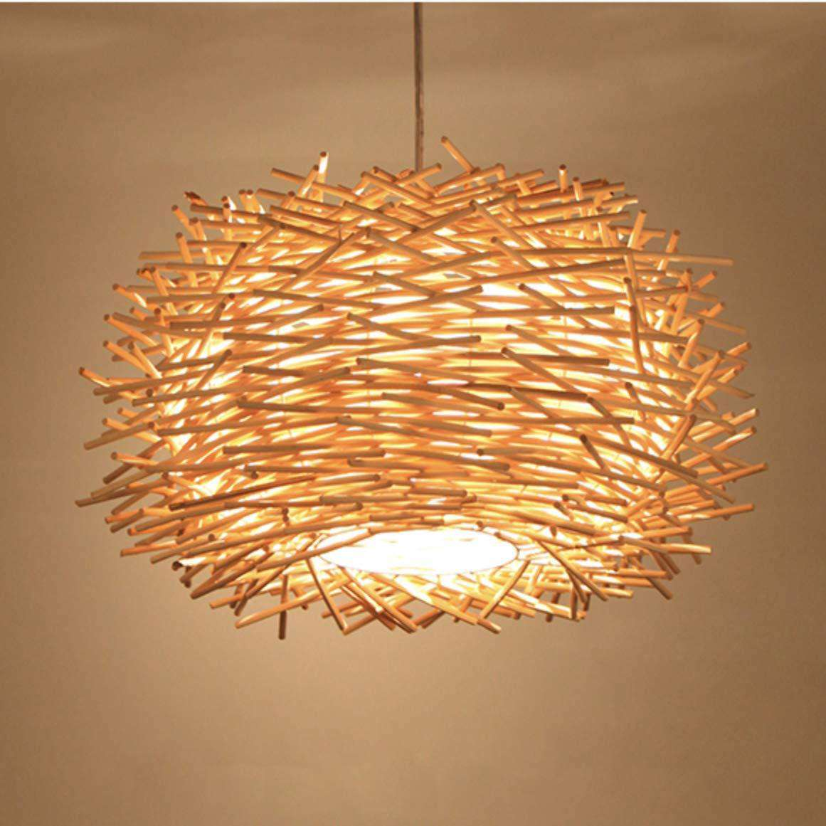 LED Ceiling Light Cover Hand Woven Rattan Chandelier Bird Nest Wooden Ceiling Lamp