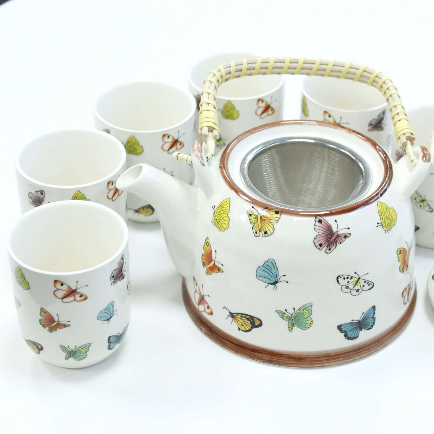 Ceramic Herbal Teapot Set With Six Matching Cups Butterfly Design