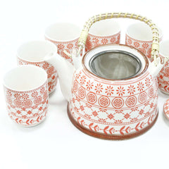 Ceramic Herbal Teapot Set With Six Matching Cups Amber Design