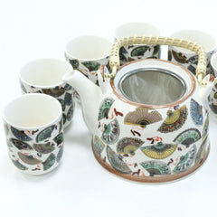 Ceramic Herbal Teapot Set With Metal Strainer In The Lid and Six Matching Cups