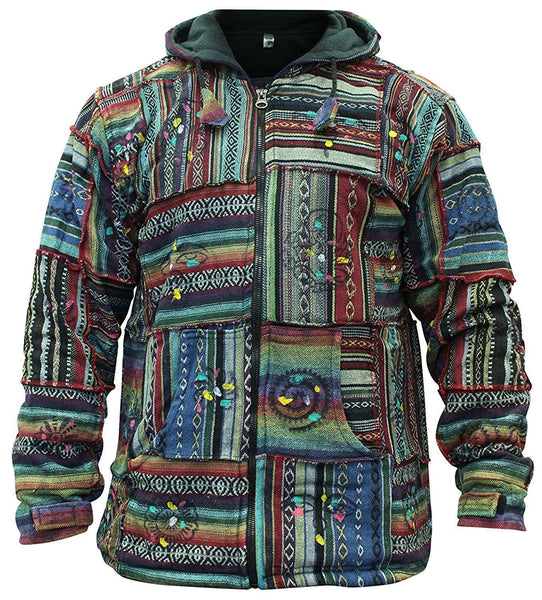 Mens Cotton Outstiched Hippie Hoodie Jacket Made in Nepal