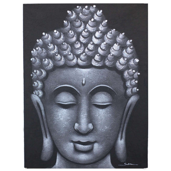 Buddha Painting Grey Brocade - handmade items, shopping , gifts, souvenir