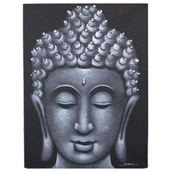 Buddha Painting Grey Brocade
