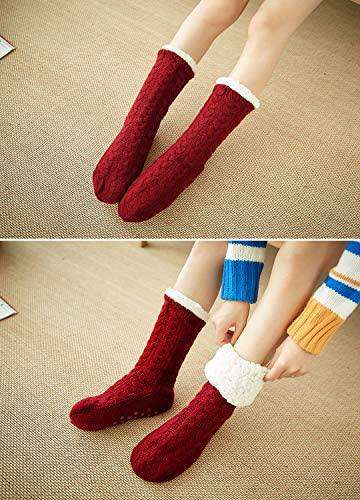 Women Slipper Socks Warm and Soft Sherpa Lined Winter Socks Fluffy Thermal with Non Slip Grips Sole - handmade items, shopping , gifts, souvenir