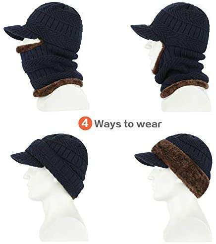 Winter Knit Beanie Hat with Flexible Neck Warmer Unisex Windproof Warm Face Mask - handmade items, shopping , gifts, souvenir