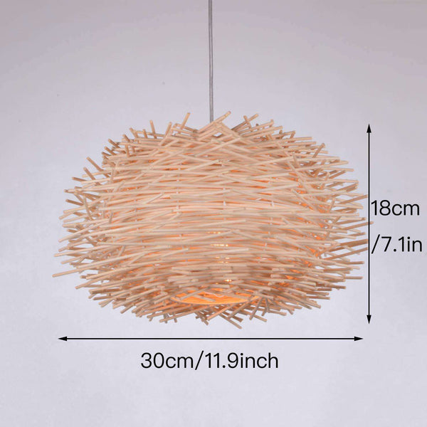 LED Ceiling Light Cover Hand Woven Rattan Chandelier Bird Nest Wooden Ceiling Lamp - handmade items, shopping , gifts, souvenir