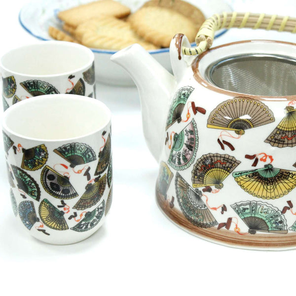 Ceramic Herbal Teapot Set With Metal Strainer In The Lid and Six Matching Cups - handmade items, shopping , gifts, souvenir