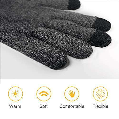 4UMOR Winter Warm Knit Gloves Touchscreen Super Soft Thick Fleece Gloves Outdoor Windproof Driving Gloves for Men and Women