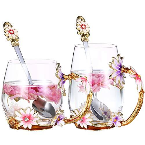 evecase Enamels Butterfly Flower Clear Lead-Free Glass Coffee Mugs Tea Cup with Steel Spoon Set, Personalised Gifts for Women Wife Mum Girl Teacher Friends Birthday Mothers Valentines Day Purple-tall