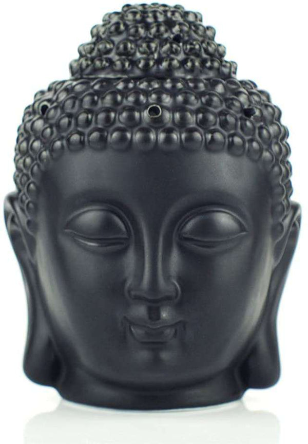 Buddha Head Ceramic Hollow Aromatherapy Furnace Oil Candle Burner for Yoga or Meditation Room  10 x 15 cm