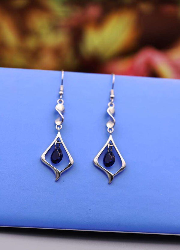 Gemstone Gold Plate 925 Sterling Silver Drop Earrings