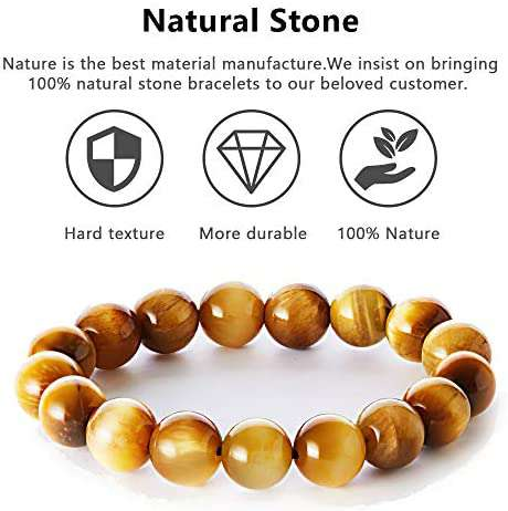Tiger Eye Bead Stretchy Elastic Bracelet Natural Energy Stone - handmade items, shopping , gifts, souvenir