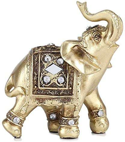 Gold Color Elegant  Home Office Decor Elephant Statue With Trunk Raised Home Office Decor Birthday Congratulatory House Warming Gift - handmade items, shopping , gifts, souvenir