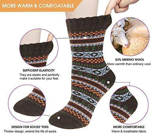 5 pairs Women Socks Wool Winter Thermal Soft Classic Business Chunky Socks Breathable - handmade items, shopping , gifts, souvenir
