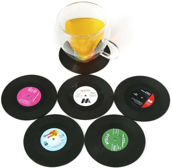 6 PCS Retro Vinyl Cup Mat Record Style Coaster Non-slip Insulated Coffee Drink Mat - handmade items, shopping , gifts, souvenir