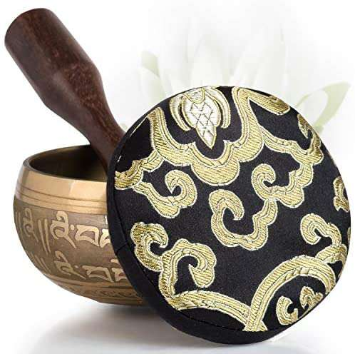 Tibetan Singing Bowl Set Easy to Play with Cushion & New Dual-End striker for Holistic Healing, Calming & Mindfulness Bronze Mantra Design