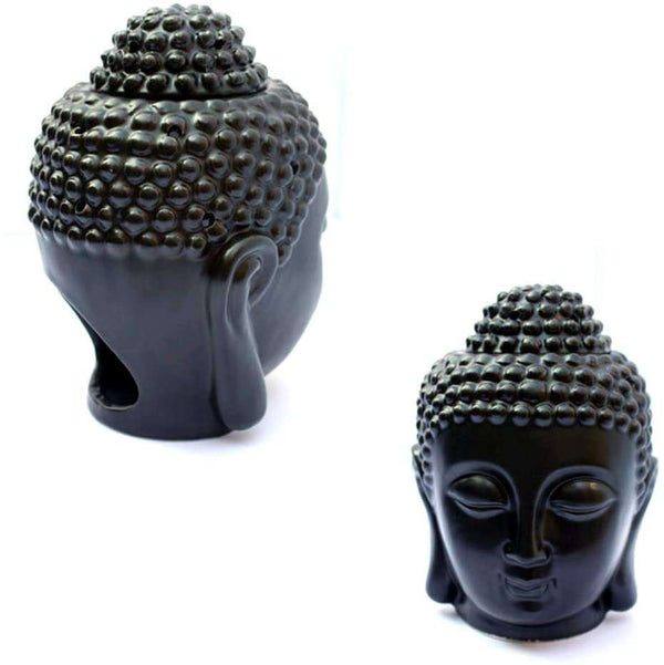Buddha Head Ceramic Hollow Aromatherapy Furnace Oil Candle Burner for Yoga or Meditation Room  10 x 15 cm - handmade items, shopping , gifts, souvenir