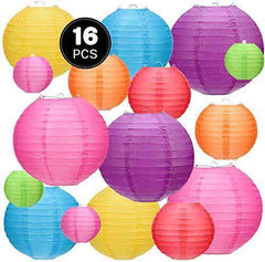 16 Pcs Paper Lantern Colorful Hanging Decorative