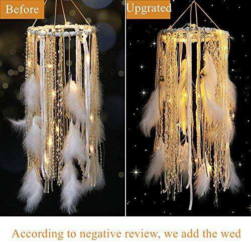 Dream Catcher with White Feather Large Lace LED Fairy Lights by 2AA Battery Powered Baby Kids Bedroom Decoration - handmade items, shopping , gifts, souvenir