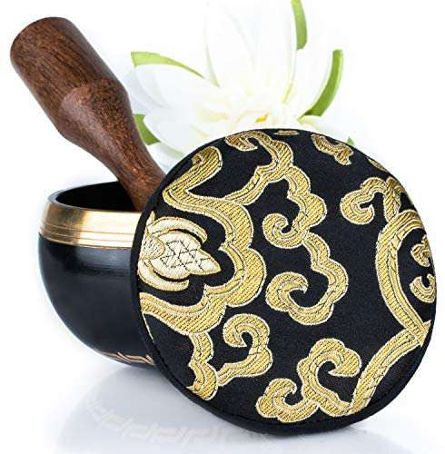 Tibetan Singing Bowl Set Easy to Play with Cushion & New Dual-End striker for Holistic Healing, Calming & Mindfulness Bronze Mantra Design - handmade items, shopping , gifts, souvenir