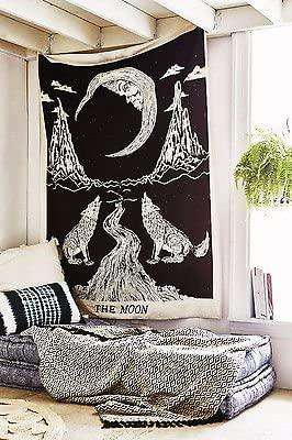 Crying Wolf And Moon Tapestry Wall Hanging Cotton Black White Mandala Boho Decor - handmade items, shopping , gifts, souvenir