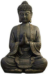 Zen Light Big Statue Buddha Meditation  Bronze 37.5x 15 x 24 cm