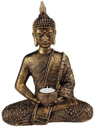 Large Thai Buddha tealight holder, gold, bronze