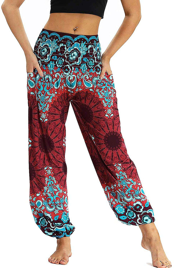 Women Trouser Floral Yoga Pants Loose Fit Bohemian Lounge Pants with Pocket - handmade items, shopping , gifts, souvenir