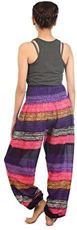 Women Print Smocked Waist Boho Trousers Drawstring - handmade items, shopping , gifts, souvenir