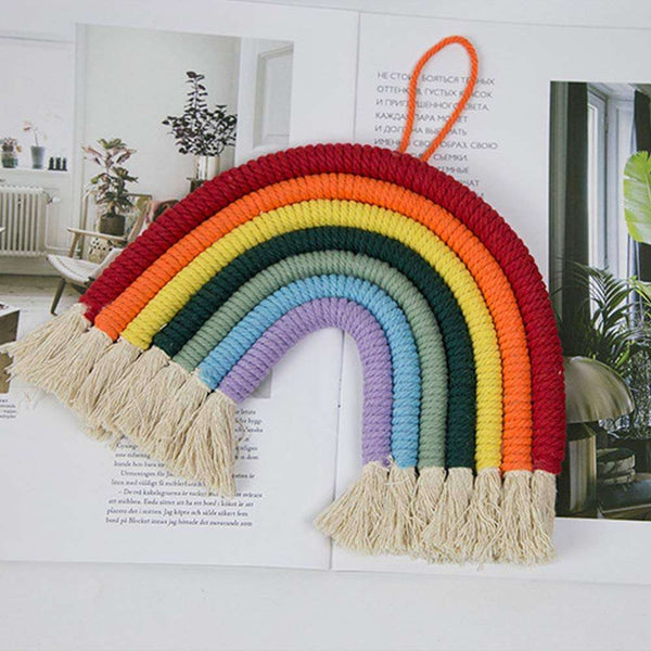 Rainbow Wall Hanging Hand-Woven Decoration for Kids Room Decor Bedroom Playroom Home Decoration - handmade items, shopping , gifts, souvenir