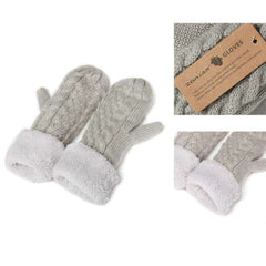 Cable Stripe Thick Plush Knit Winter Warm Mitten Hand Warmer