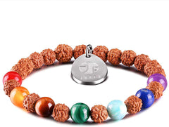 7 Chakra Bracelet for Women Men Natural Gem Stone Essential Oil Diffuser Aromatherapy Bracelet 8MM Rudraksha Mala Beads Yoga