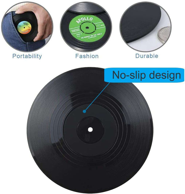 6 PCS Retro Vinyl Cup Mat Record Style Coaster Non-slip Insulated Coffee Drink Mat
