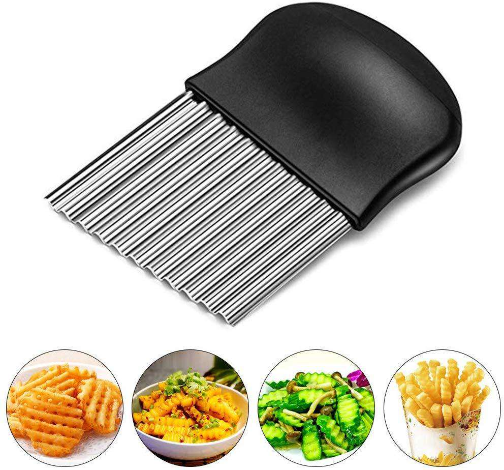 Starchef Stainless Steel Crinkle Cutter Potato Chips Cutter Vegetable Wavy Blade Cutter(Black) …