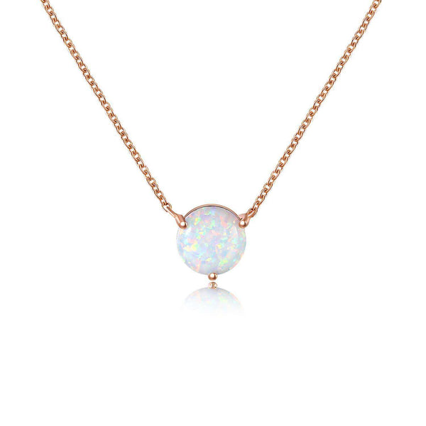 Rose Gold Plated Opal Pendant Necklace